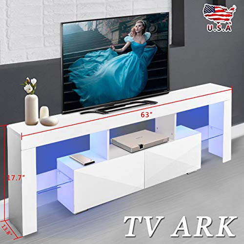 White Wooden Audio Stand Display with Light Effects LED 2 in 1 Drawers 2 Media Glass Shelf Mean Enjoyment Station Studio Chest Storage Livingroom 63