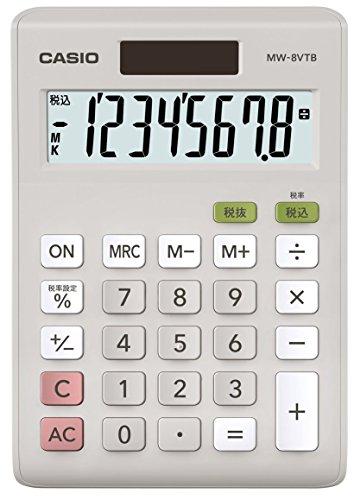 Casio Standard calculator tax calculation mini just type 8-digit MW-8VTB-N White