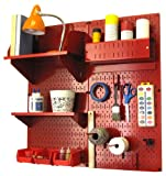 Wall Control Hobby Craft Pegboard Organizer Storage Kit, Red