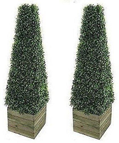 Confezione da 2 alberi artificiali decorazione moderna in scatola di legno 0,9/m