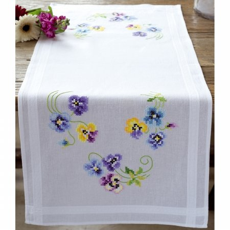 Vervaco Pretty Pansies Table Runner Stamped Embroidery Kit-16