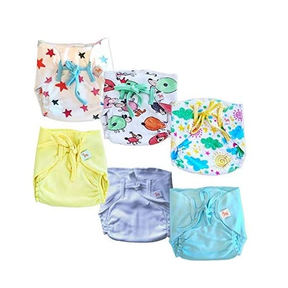 Superbottoms Super Nappy- Pack of 12- Soft, Organic Cotton Nappies for Newborn Babies with 100% Organic Cotton Padding
