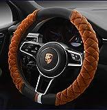 Cxtiy Universal Car Steering Wheel Cover Fluffy Winter Plush Steering Wheel Cover (A-Brown)