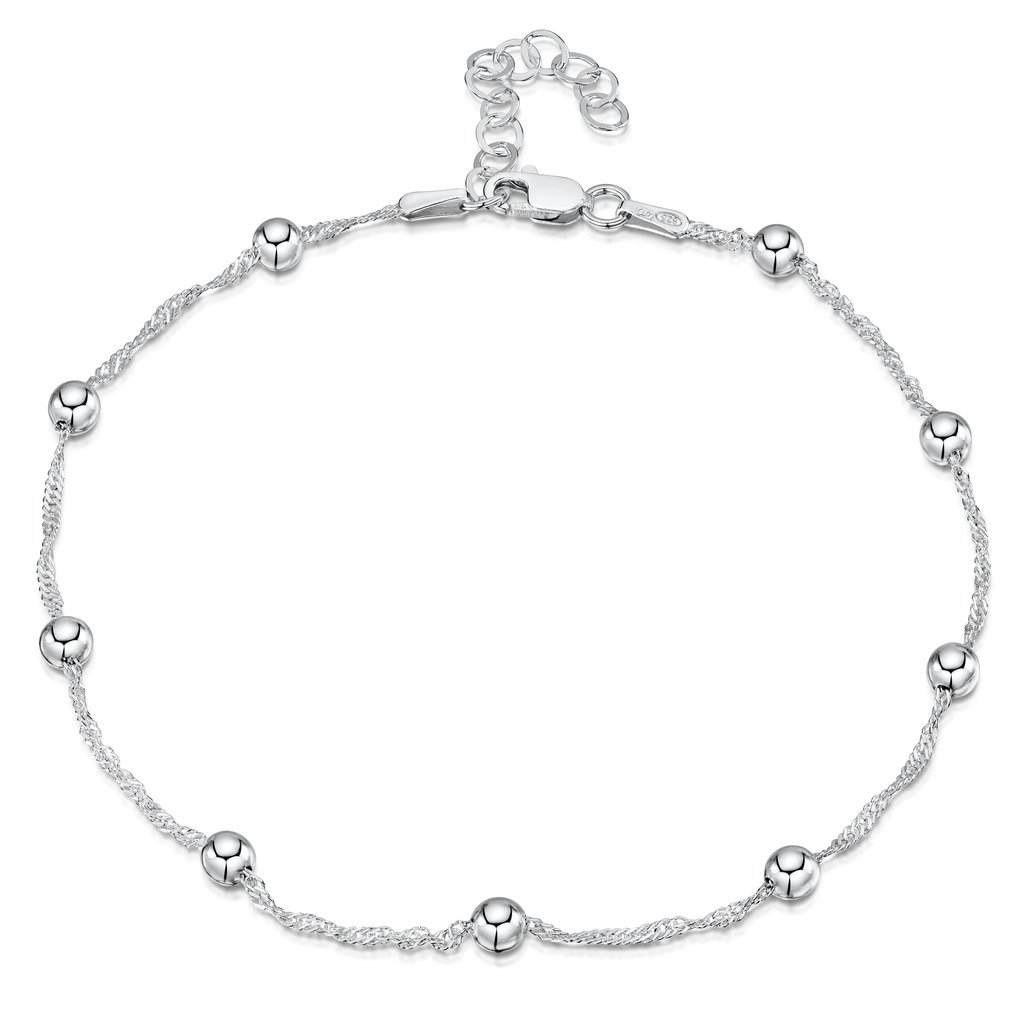 925 Fine Sterling Silver 1.4 mm Adjustable Anklet - Singapore Chain with 4 mm Ball Beads Ankle Bracelet - 9'' to 10'' inch - Flexible Fit
