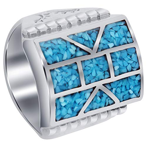 Gem Avenue Mens 925 Sterling Silver Turquoise Chip Inlay Mosaic Design Ring Size 9
