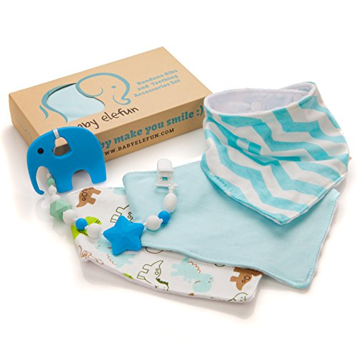 Baby Shower Gifts For Little Boys - Teether Pacifier Clip & Elephant Teething Toy (100% BPA Free Silicone) + 3 Pack Bandana Drool Bibs With Snaps, Best Set For Newborn Babies Registry And Toddlers.