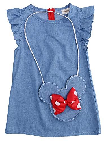 stylesilove.com Baby Girl Ruffle Sleeve Shabby Denim Dress and Cross Body Mini Coin Bag 2 pcs Outfit (80/2T) Blue
