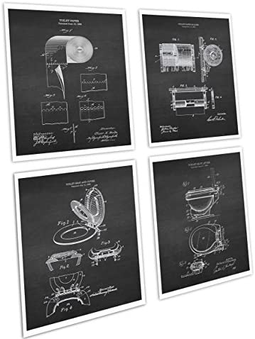 Gnosis Picture Archive Bathroom Decor Set of 4 Art Prints Unframed Toilet Paper Roll Toilet Seat Chalkboard Patents_Toilet_Chk4A
