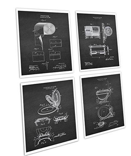 (Gnosis Picture Archive Bathroom Decor Set of 4 Art Prints Unframed Toilet Paper Roll Toilet Seat Chalkboard Patents_Toilet_Chk4A)