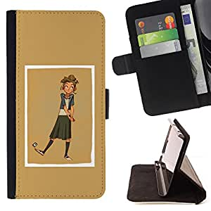 - golden brown yellow beige girl golf - - Prima caja de la PU billetera de cuero con ranuras para tarjetas, efectivo desmontable correa para l Funny HouseFOR HTC Desire 820