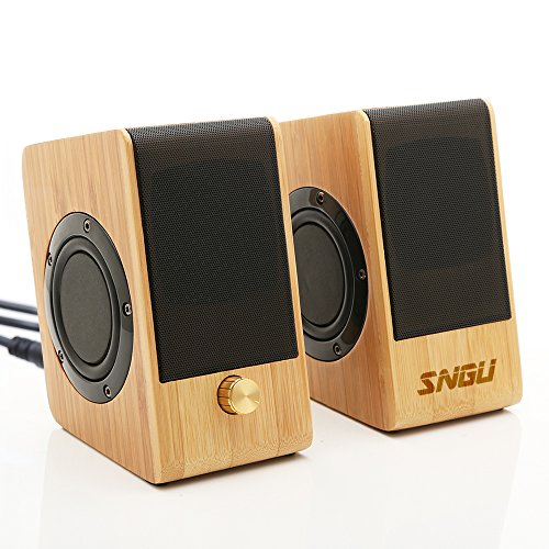 Sengu Bamboo Wooden Design Audio,Mini Speakers with HD Sound and Bass,USB Charger, Compliant for Computer ,Cellphone,Laptops (SG-S132)