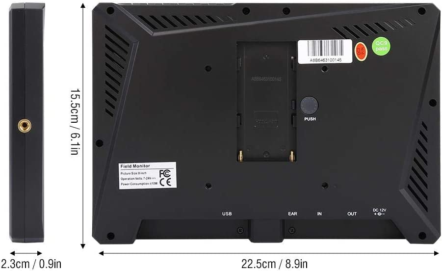 Camera Monitor A8 8.9Inch IPS Screen 4K Full HD Video Monitor Kit for DSLR Cameras