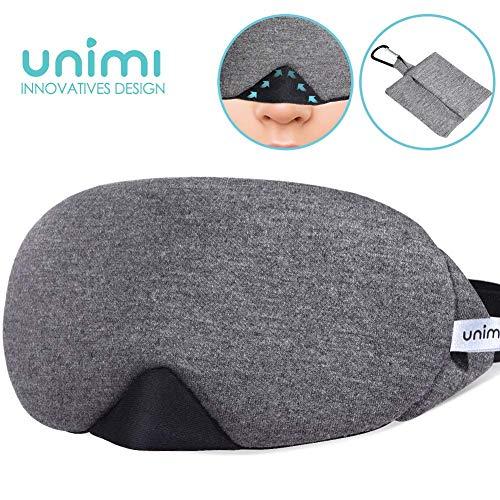 Eye Mask for Sleeping, Unimi Cotton Sleep Mask & Blindfold for Men Women, 100% Light Blocking, Super Soft and Comfortable, Eye Cover for Travel, Shift Work, Naps (Black)
