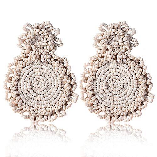 Statement Drop Earrings - Bohemian Beaded Round Dangle Earrings Gift for Women (Beige)