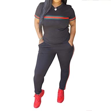035bbe8d0 DINGANG Women 2 Pieces Outfits Short Sleeve Top and Long Pants Sweatsuits  Set Tracksuits at Amazon Women's Clothing store: