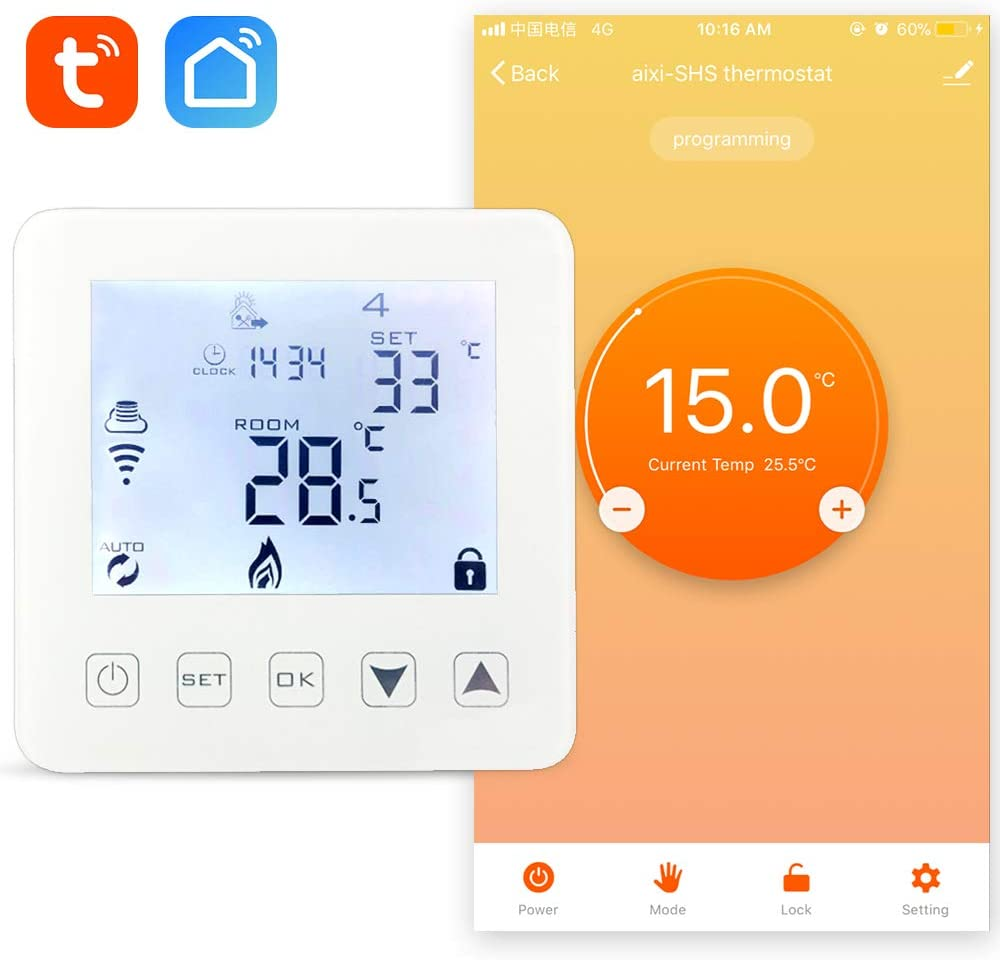 aixi-SHS Wi-Fi termostato calefacción por agua y calefacción de caldera de gas - Amazon Alexa echo/Google Home/IFTTT - pantalla táctil LED tempeature TuyaSmart/Smart Life APP control