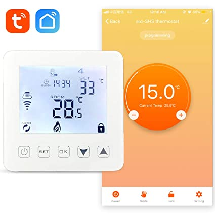 aixi-SHS Wi-Fi termostato calefacción por agua y calefacción de caldera de gas - Amazon Alexa echo/Google Home/IFTTT - pantalla táctil LED tempeature ...