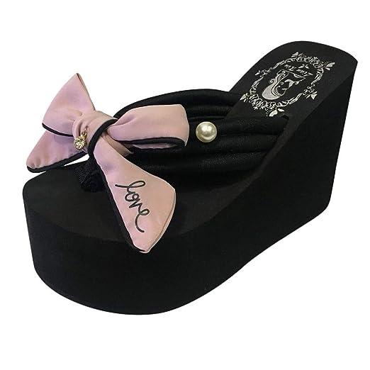 Cuñas de Color Liso con Perlas de Flores Aletas Zapatos de Playa Sandalias Zapatillas LILICAT ✈
