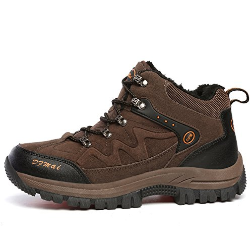Gomnear Hiking Boots Men Trekking Shoes High Top Outdoor Winter Warm Fully Fur Lining Climbing Sneaker Marrone