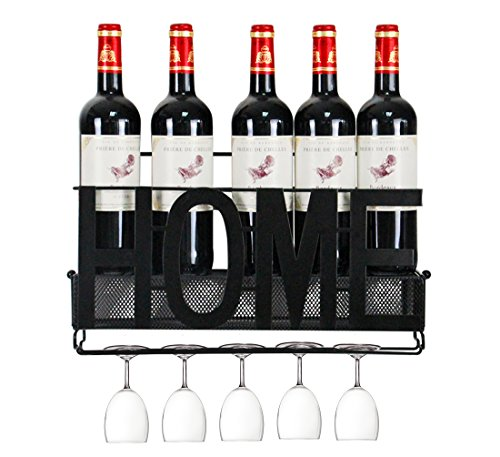 5 Bottle Wine Holder (PAG 5 Bottles Metal Wall Mounted Wine Rack with Wine Glass Rack and Wine Cork Holder, Black)