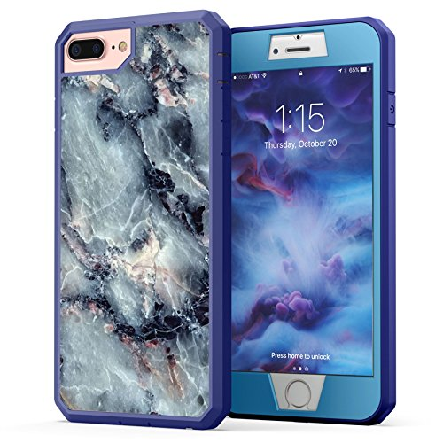 Protection Part - iPhone 7 Plus Case, Marble iPhone 8 Plus Case, True Color Grayish Blue Marble [Stone Texture Collection] Heavy Duty Hybrid + 9H Tempered Glass 360° Protection [True Armor Series] - Blue