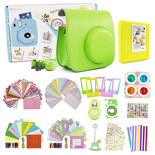 Shaveh 14 in 1 Camera Accessories for Fujifilm Instax Mini 9, Include Camera Case/Colored Filters/Wall Hang Frames/Film Frames/Border Stickers/Corner Stickers/Selfie lens/Diamond Stickers (Lime Green)