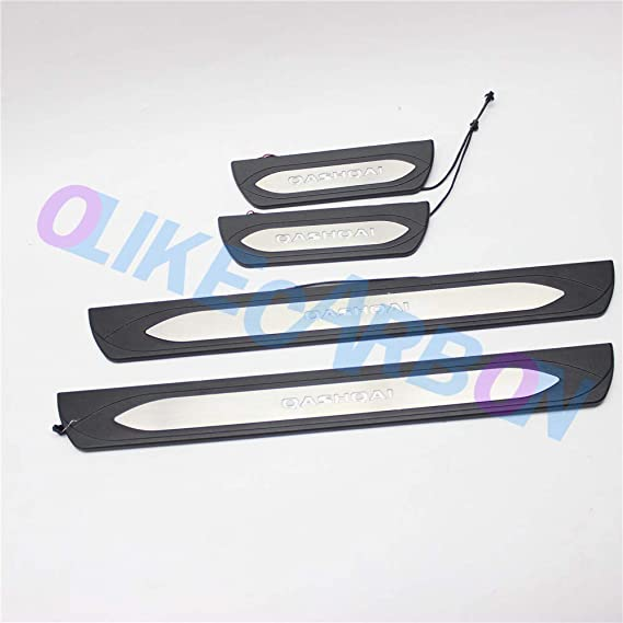 OLIKE for Nissan Kicks 2018 2019 2020 Fashion Style ABS+Stainless Steel Car Door Sill Scuff Plate Guard Entry Door Guard Sill Protectors Led