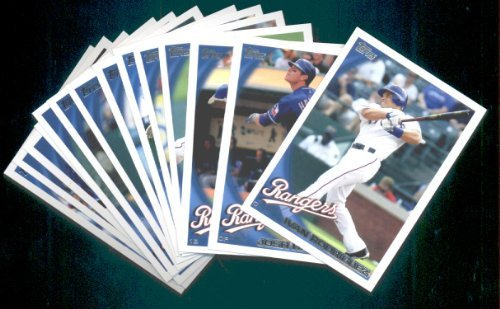 - 2010 Topps Baseball Cards Texas Rangers Team Set with Ultra Pro 4 Pocket Notebook - 27 Cards including Borbon, Holland, Young, Blalock, Francisco, Vizquel, Hamilton & more