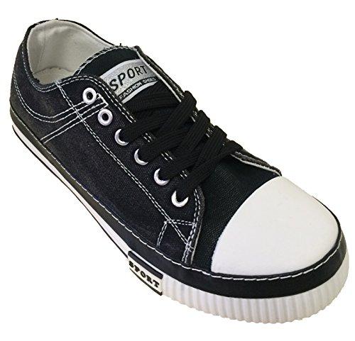 M-5538 Heren Canvas Sneakers Jeans Denim Veter Casual Urban Fashion Stone-washed Schoenen, Marine, Rood, Zwart, Groen Zwart