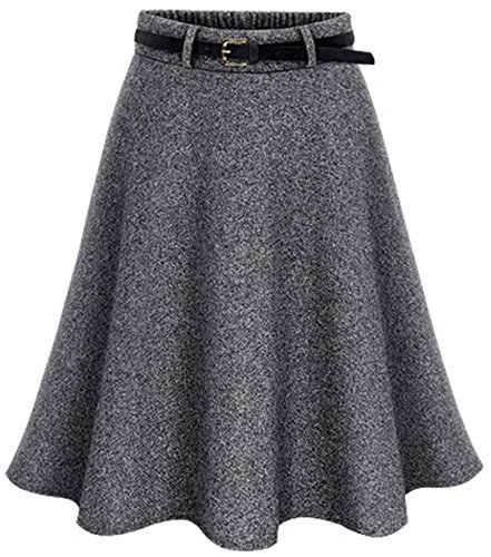 Chouyatou Women's Elastic Waist A-Line Flare Flowy Wool Knee Length Wrap Skirts (Small, (Elastic Waist Wool Skirt)
