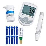 Carejoy 2 in 1 Glucose/Cholesterol Monitor with 50 Glucose Test Strips+50 Twist Lancets+10 Cholesterol Strips, Bluetooth 4.0 Connection with APP for IOS Android