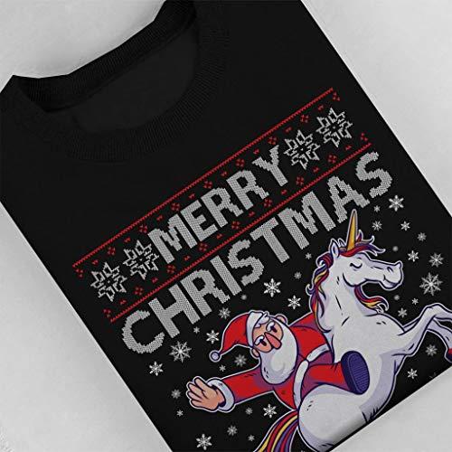 Merry Women's Christmas Sweatshirt Coto7 Santa Black Knit Unicorn Pattern TxwxHq4g