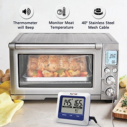 Famili MT004 Digital Electronic Kitchen Food Cooking Meat Thermometer for BBQ Oven Grill Smoker with Timer Alarm and Large LCD Display