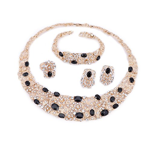 OUHE Black Crystal Chain Necklace Ring Bracelet Jewelry Set Costume Show Wedding Gold Plated