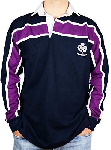 Scottish Rugby Shirt Purple Stripe Long Sleeve Navy option X Large