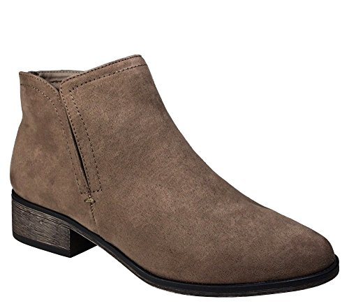 BAMBOO Women's Plain Faux Suede Ankle Bootie, Taupe Faux Suede, 10.0 B (M) US ()
