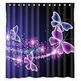 RELAX Pink Purple Butterfly Shining Light Under Blue Sky Waterproof Shower Curtain 66