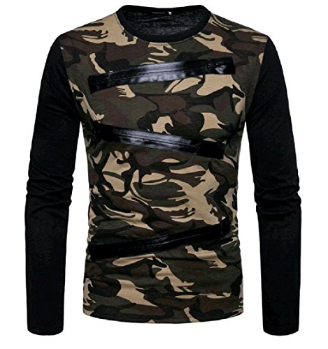 EnergyMen Henley Print Camo Pullover Shirt Sleeves Men's Coffee Long HHF7q