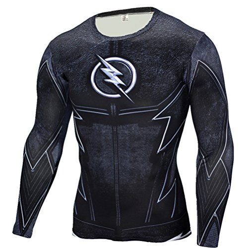 Mens Slim Compression Shirt,Lightning/Flash Super Hero Fashion Workouts Tee S -