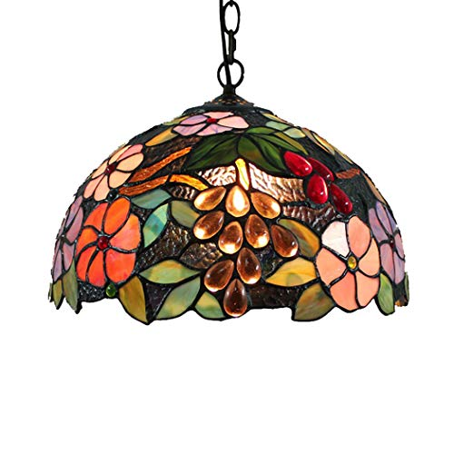 12 '' Tiffany Style Hanging Lamp Living Room Dining Room Pendant Light European Grape Flower Pattern Lampshade Decorative Lighting,E27,110~240V