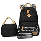 School Backpack, Aiduy Student Canvas Bookbag Lightweight Laptop Bag with Shoulder Bags and Pen Case for Teen Boys and Girls (Black1, 3pcs)