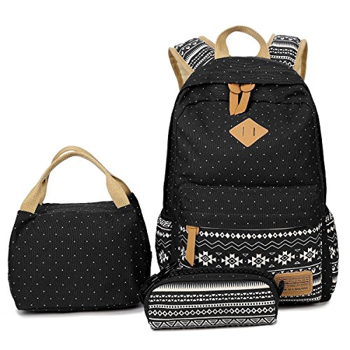 School Backpack, Aiduy Student Canvas Bookbag Lightweight Laptop Bag with Lunch Bags and Pen Case for Teen Boys and Girls (Black1, 3pcs) ()