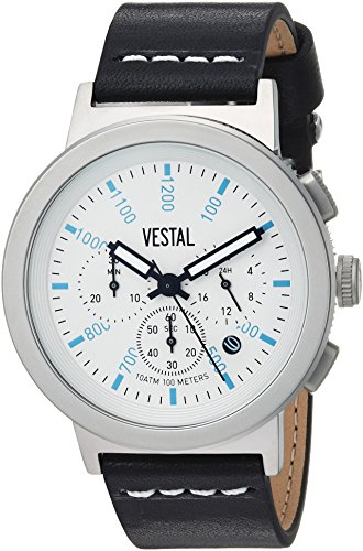 Vestal Quartz Stainless Steel and Leather Dress Watch, Color:Black (Model: SLR44CL04.BKWH)
