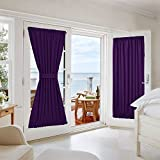 "Blackout Door Curtain Panel for Patio - Thermal Insulated & Privacy Assured Window Drape by NICETOWN (54"" Width x 72"" Length, Royal Purple, Single Panel)"