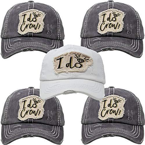 Funky Junque BH-202-5-ID.4IDC70 Bridal Hat Bundle: I do, 4 I Do Crew (Grey) -