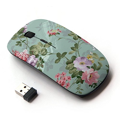 Mouse Flower (KawaiiMouse [ Optical 2.4G Wireless Mouse ] Flowers Vintage Old Teal)