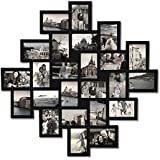 Adeco 24-Opening Black Wood Wall Hanging Collage Clustered Photo Frame, 4 by 6""