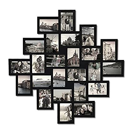 d544a3208 Amazon.com - Adeco PF0552 24-Opening Black Wood Wall Hanging Collage  Clustered Photo Frame