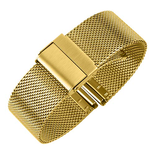 Luxury High-end Fashion Watch Mesh Band Metal Milanese Strap Deluxe Replacement Bracelet for Watch with Solid Safety Folding Clasp, 316L Stainless Steel, for Men & Women, Gold 22mm