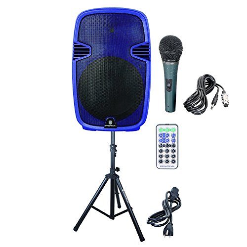 PRORECK PR-C15 Portable 15-inch 600 Watt 2-way Dj/PA Powered Speaker with Bluetooth/USB/SD Card Reader/ FM Radio/Remote Control/LED Light/Speaker Stand, Blue by PRORECK